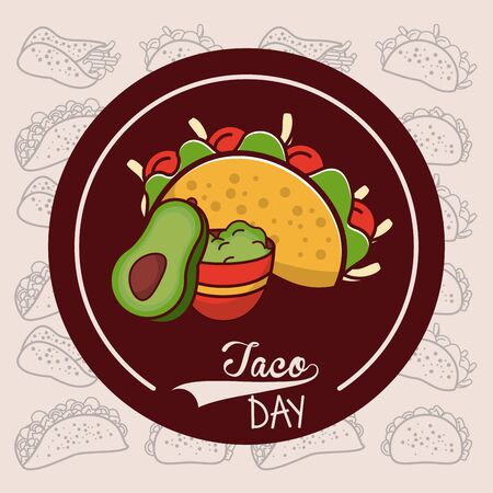 Taco day mexican food with ingredients round label emblem cartoon vector illustration graphic design.