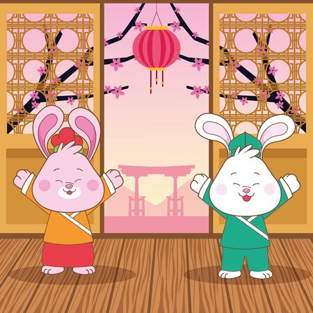 mid autumn chinese festival happy rabbits couple with oriental lantern cartoon vector illustration graphic design