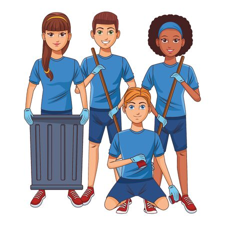 cleaning service person woman with braid holding a trash can, afromerican woman with garbage picker, man carrying dustpan and man picking some cans profile picture avatar cartoon character portrait vector illustration graphic design