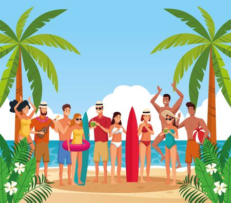 Young friends having fun at beach with surf tables, summer and vacations. vector illustration graphic design 向量圖像
