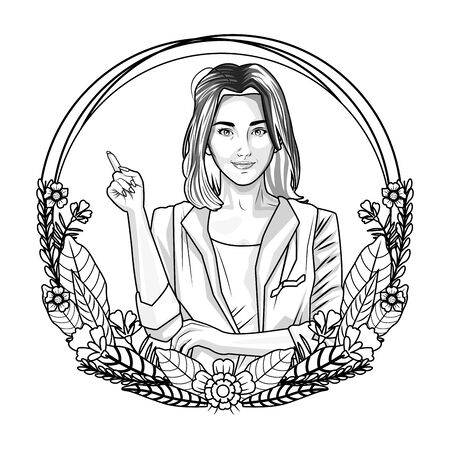 Pop art beautiful woman on round emblem with floral wreath cartoon ,vector illustration graphic design. Illustration