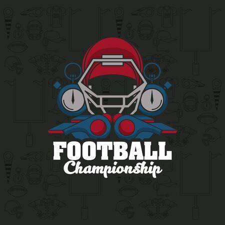 Football sport championship emblem with equipment symbols on black background , sport tournament. Çizim