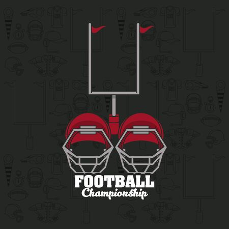 Football sport championship emblem with equipment symbols on black background , sport tournament. vector illustration.