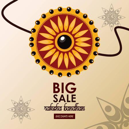 raksha bandhan big sale and discounts advertising poster with indian mandala emblems ,vector illustration.