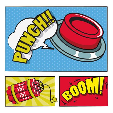 Comic book story with speech bubbles, buttons tnt and and explosion ,vector illustration.