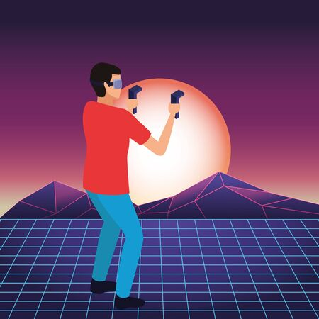 virtual reality technology, young man living a modern digital experience with headset glassesand joysticks cartoon on virtual three dimensional landscape background ,vector illustration.