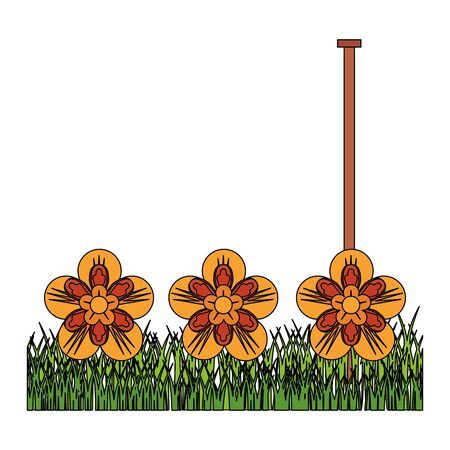 flowers tropical spring orange floral garden over grass cartoon vector illustration graphic design