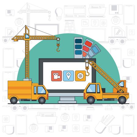 technology device maintenance support computer screen under website construction with engineer heavy tools cartoon vector illustration graphic design