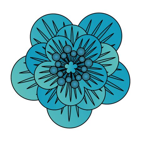 flower tropical spring blue floral cartoon vector illustration graphic design Иллюстрация
