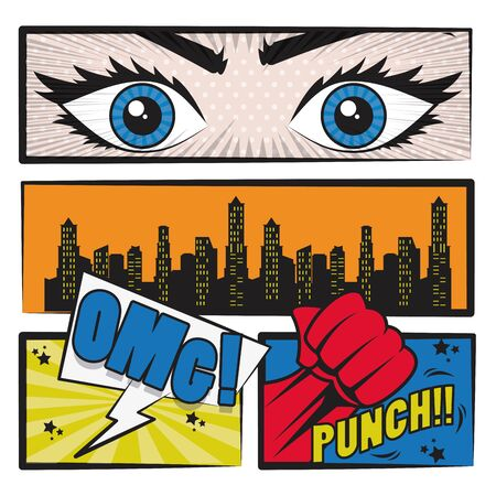 Comic book story with speech bubble, cityscape, eyes and superhero punch ,vector illustration.