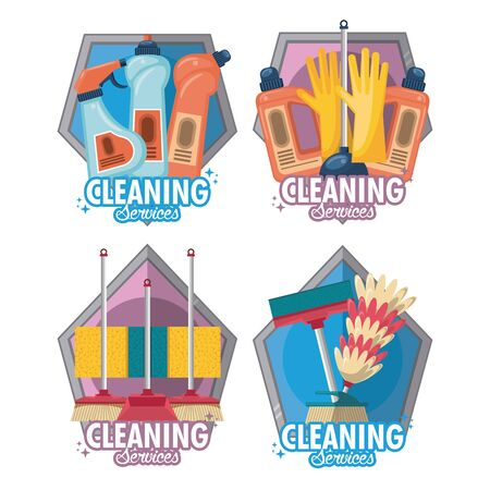 Set of Cleaning service and housekeeping with products emblem on white background vector illustration