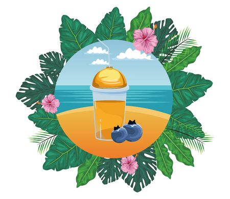 tropical fruit and smoothie drink with bluberries icon cartoon in round icon with leaves in the frame and seascape vector illustration graphic design Çizim