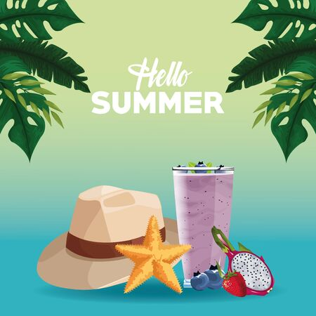 Hello summer poster card with beach and vacations cartoons on blue background with tropical leaves. vector illustration graphic design