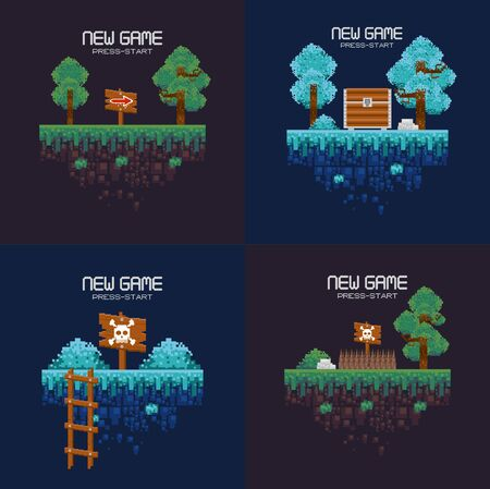 Retro videogame pixelated set of landscapes, press start new game screenplay with chest, sign posts, ladle and forest ,vector illustration