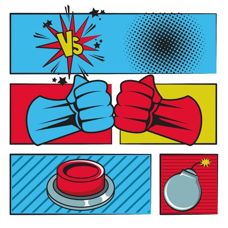 Comic book story with speech bubble, superheros punches button and round bomb ,vector illustration.