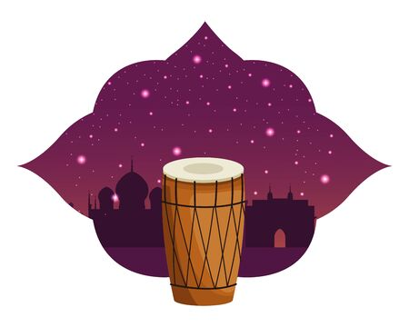 drum mridangam with asiatic shape frame and monuments silhouette behind icon cartoon isolated vector illustration graphic design