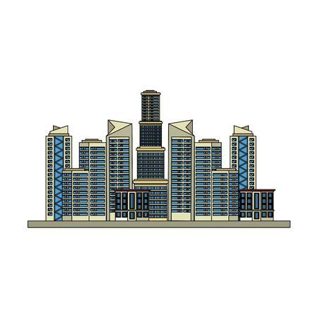 buildings landscape urban city view cartoon vector illustration graphic design