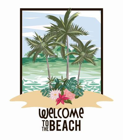Welcome to the beach card with summer and travel cartoons, vacations in island. vector illustration graphic design. Ilustración de vector
