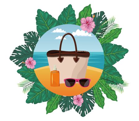 summer beach and vacation with sunscreen jar, sunglasses and beach bag icon cartoon in round icon with leaves in the frame and seascape vector illustration graphic design Stock Illustratie