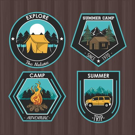 Set of Camping explore summer patches emblems collection vector illustration graphic design