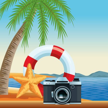 summer beach and vacation with lifebuoy, photographic camera and starfish icon cartoon over the beach with seascape vector illustration graphic design Stock Illustratie
