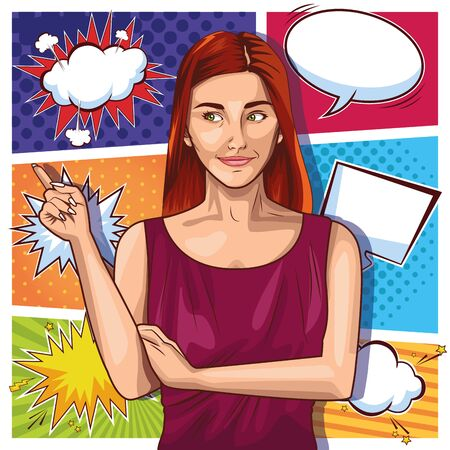 Pop art red hair woman on speech bubbles in frames pattern background ,vector illustration.