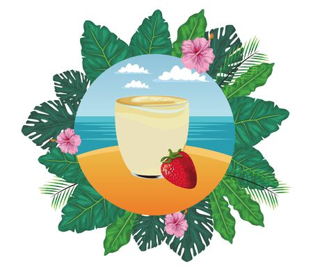 tropical fruit and smoothie drink with strawberry icon cartoon in round icon with leaves in the frame and seascape vector illustration graphic design Иллюстрация