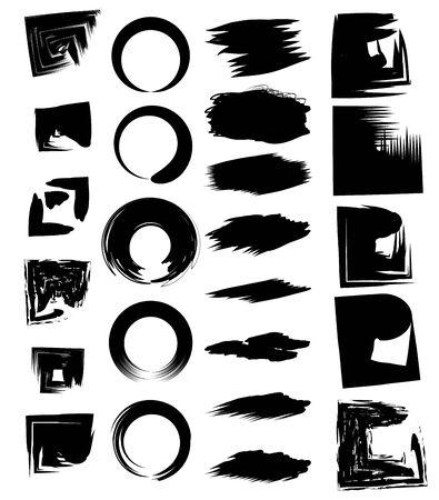 abstract paint brush stroke black grungy ink strains cartoon vector illustration graphic design Çizim
