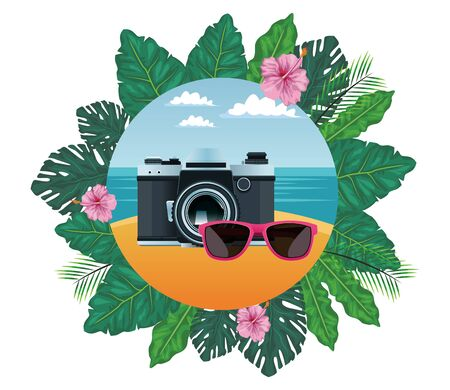 summer beach and vacation with photographic camera and sunglasses icon cartoon in round icon with leaves in the frame and seascape vector illustration graphic design Stock Illustratie