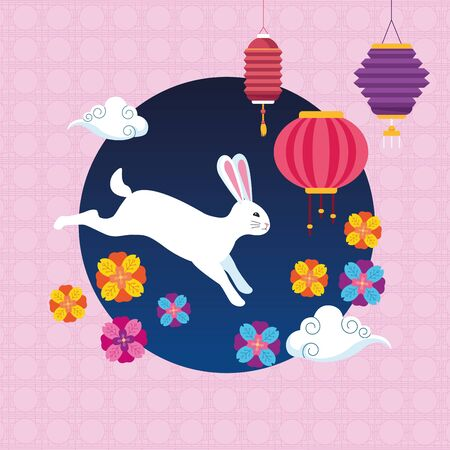 mid autumn chinese festival cute rabbit with oriental lanterns and flowers at night cartoon vector illustration graphic design