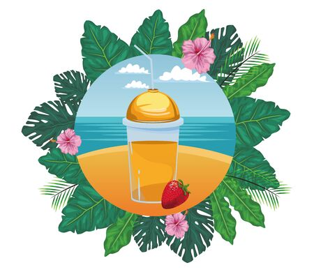 tropical fruit and smoothie drink with strawberry icon cartoon in round icon with leaves in the frame and seascape vector illustration graphic design Stock Illustratie