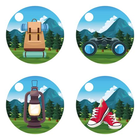 Travel and adventure camping bacpack shoes lantern and binoculars at nature round icons vector illustration graphic design. Ilustracja