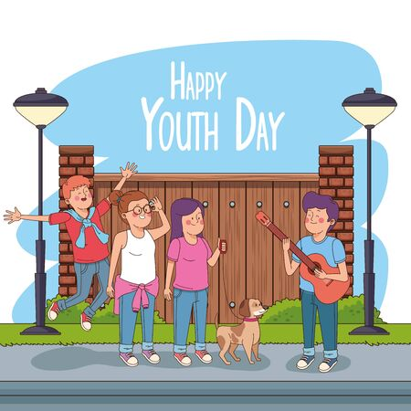Happy youth day card with teenagers cartoons with bricks wall sign ,vector illustration graphic design.