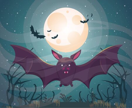 halloween dark scene with bat flying vector illustration design Illusztráció