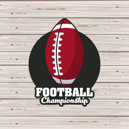 Football sport championship emblem with equipment symbols on wooden background , sport tournament. vector illustration.