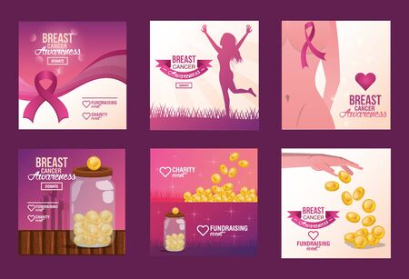 Breast Cancer Awareness Fundraise invitation design, vector illustration