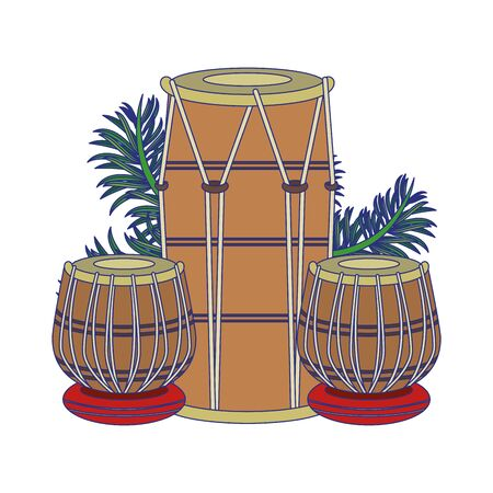Indian table drums with leaves cartoon vector illustration graphic design Stock Illustratie