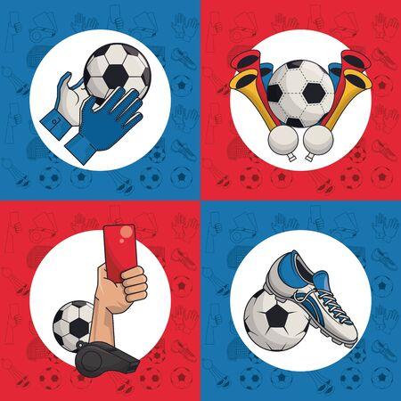 Soccer sport game cartoons collection vector illustration graphic design Çizim