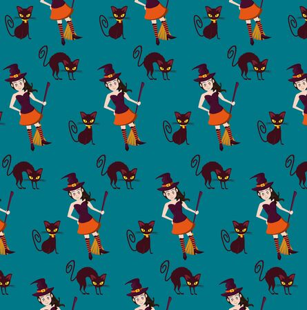 Halloween witch and black cats background cartoons pattern ,vector illustration graphic design. Stock Illustratie