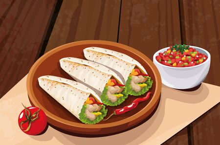 Delicious Mexican Food over traditional mexican dish with tomatoe, vector illustration Çizim