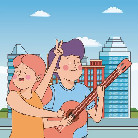 Teenagers friends playing guitar and singing cartoon in the city, urban scenery with street ,vector illustration graphic design.