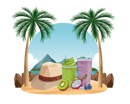 summer beach and vacation with tropical smoothie, kiwi, panama hat, pitahaya and bluberries icon cartoon over sand with palm background vector illustration graphic design