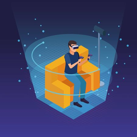 Young man seated on sofa and using virtual reality glasses technology inside hologram cone vector illustration
