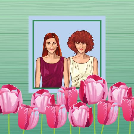 Pop art beautiful women smiling with casual clothes on floral spring frame card ,vector illustration graphic design.