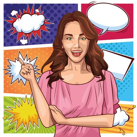 Pop art young woman smiling with brown hair cartoon on bubbles speech colorful frames background ,vector illustration graphic design. Иллюстрация