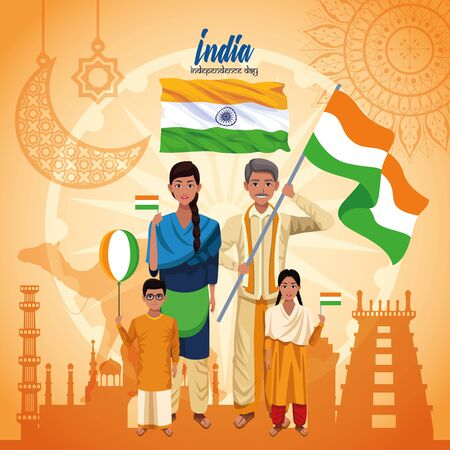 India independence day card with indian ethnic people holding flag cartoons on monuments buildings background ,vector illustration. Ilustração