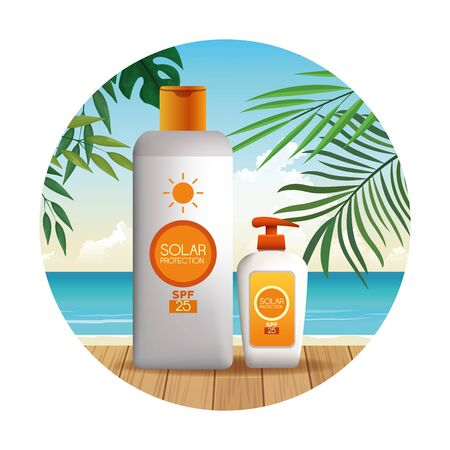 Solar protection bottles set of products for summer on beach scenery with palms leaves at sunny day, sun bronzers and cosmetics. round icons vector illustration graphic design