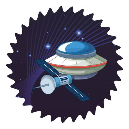 space exploration satellite and flying saucer with space lanscape with stars and lines in round icon icon cartoon vector illustration graphic design