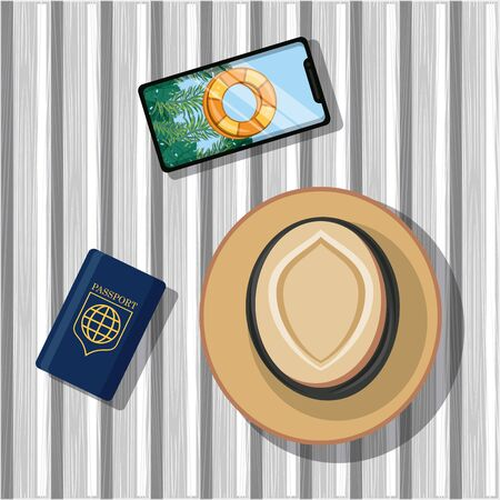 travel journey and tourism with panama hat, passport, smartphone with a bouysaver imagen vector illustration graphic design