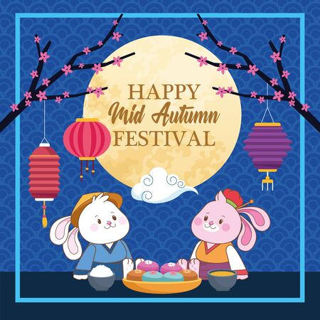 mid autumn chinese festival happy rabbits in front full moon, card with chinese translate cartoon vector illustration graphic design Stock fotó - 130684708